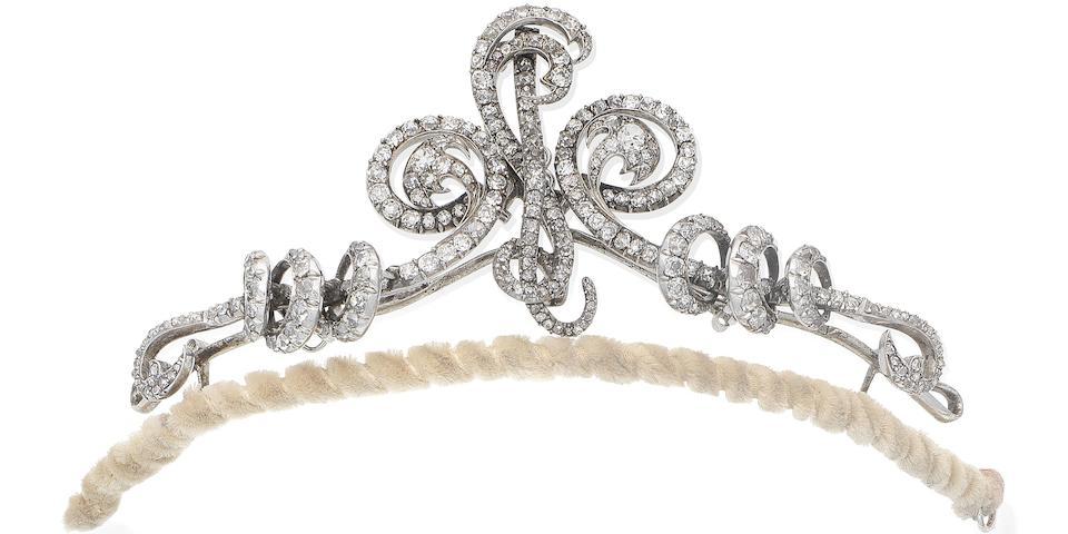A late 19th century diamond tiara, brooch and pendant combination