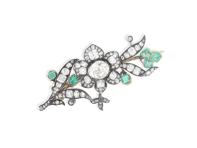 A late 19th century emerald and diamond spray brooch