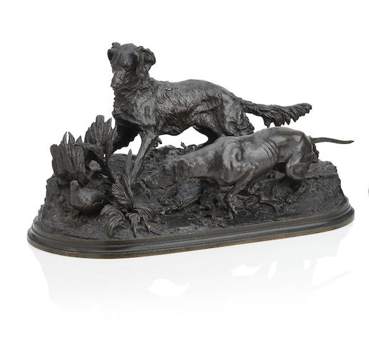 After Pierre Jules Mène (French, 1810-1879), a pair of hunting dogs