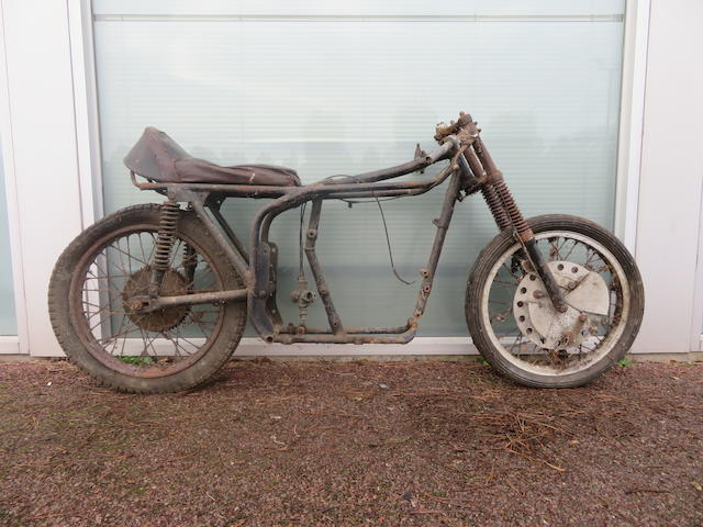 An unidentified racing motorcycle rolling chassis