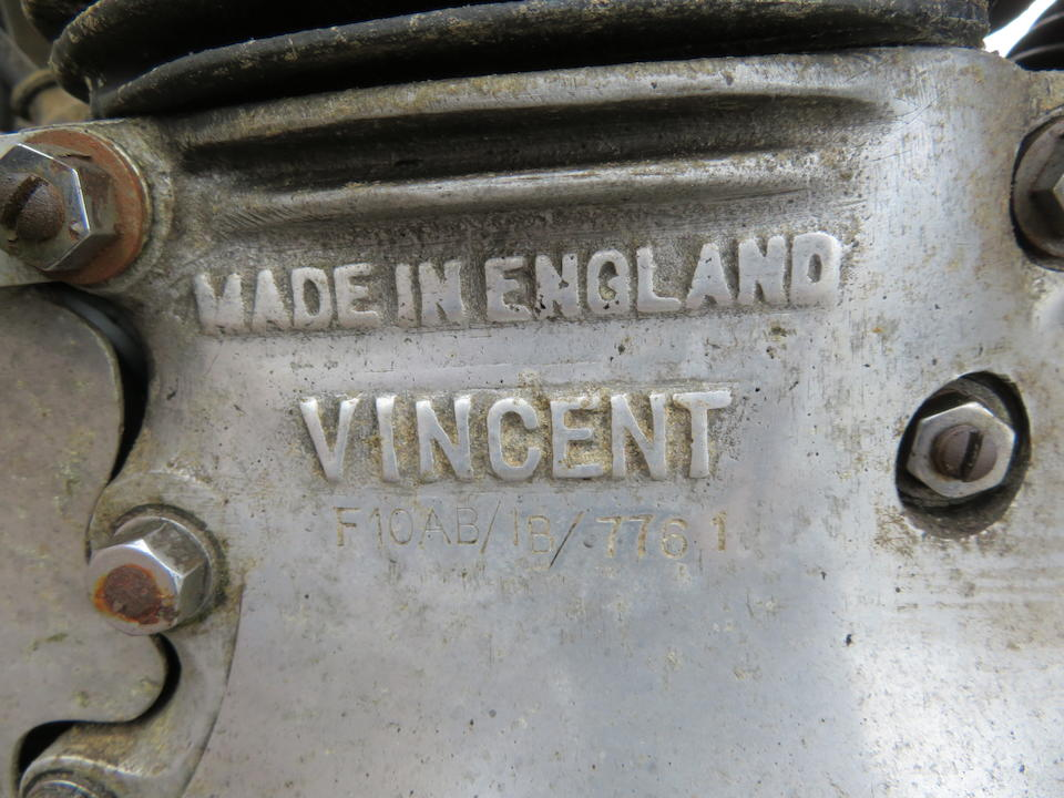Property of a deceased's estate,1951 Vincent 998cc Series-C Black Shadow Frame no. RC9661B Engine no. F10AB/1B/7761  Crankcase mating no. VV17 / VV17