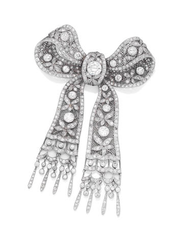 A Belle Époque diamond bow brooch,