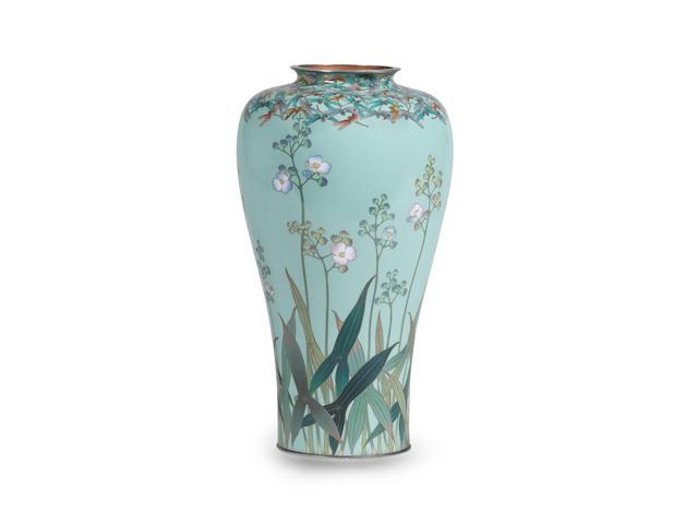 A fine and rare cloisonné-enamel vase  By Hayashi Kodenji, Meiji era (1868-1912), late 19th/early 20th century (2)