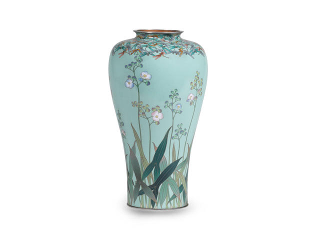 A fine and rare cloisonné-enamel vase  By Hayashi Kodenji, Meiji era (1868-1912), late 19th/early 20th century (2)