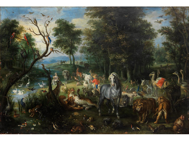 Jan Brueghel the Younger (Antwerp 1601-1678) The Four Elements: An Allegory of Earth; An Allegory of Water; An Allegory of Air; and An Allegory of Fire 33.6 x 50cm (13 1/4 x 19 11/16in).; 32.9 x 48cm (12 15/16 x 18 7/8in).; 32.9 x 48cm (12 15/16 x 18 7/8in).; and 32.9 x 48.1cm (12 15/16 x 18 15/16in). (4)