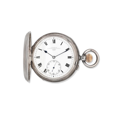 R. Webster, 91 Gracechurch St, London. A silver keyless wind full hunter karousel pocket watch Chester Hallmark for 1901