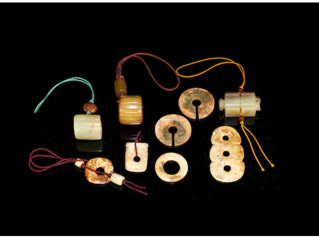 A selection of jade fittings and pendants Shang Dynasty or later  (5)
