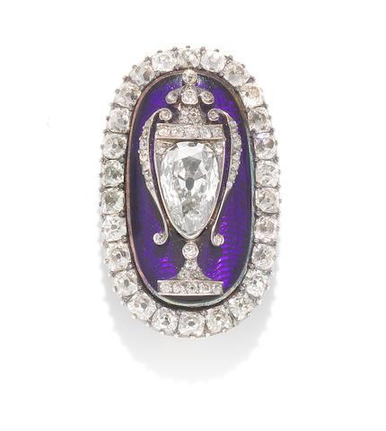 An enamel and diamond memorial brooch,