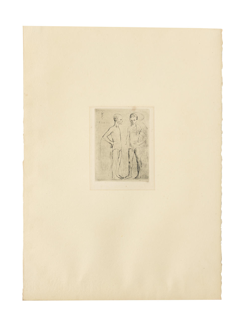 Pablo Picasso (Spanish, 1881-1973) La Suite des Saltimbanques  The rare complete suite of 15 etchings and drypoints, 1904-05, fine impressions from the edition of 250 on van Gelder Zonen wove paper, with the exception of Le Saltimbanque au repos (B. 10), one of 27 or 29 proofs on Japan laid paper and signed in red crayon, published by Ambroise Vollard and printed by Fort in 1913, Paris, all with wide margins or the full sheets, in good condition Largest sheet (Repas Frugal) 650 x 505mm. (25 1/2 x 19 7/8in.)