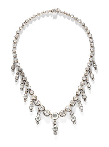 An early 19th century diamond fringe necklace