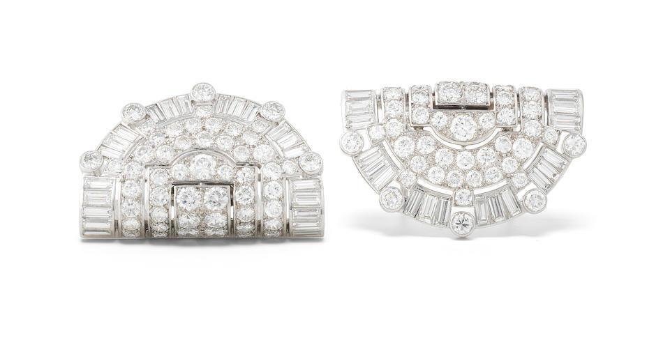 An art deco diamond double-clip brooch, by Cartier,