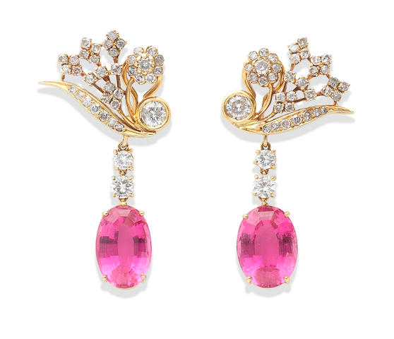 A pair of rubellite and diamond pendent earclips