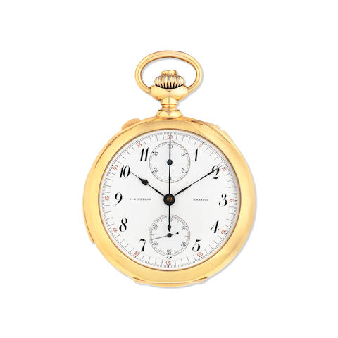 C.H. Meylan, Brassus. An 18K gold open face repeating chronograph pocket watch   Circa 1890