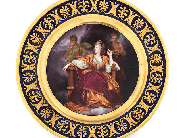 The Tragic Muse: an important Flight, Barr and Barr plate painted by Thomas Baxter, circa 1814