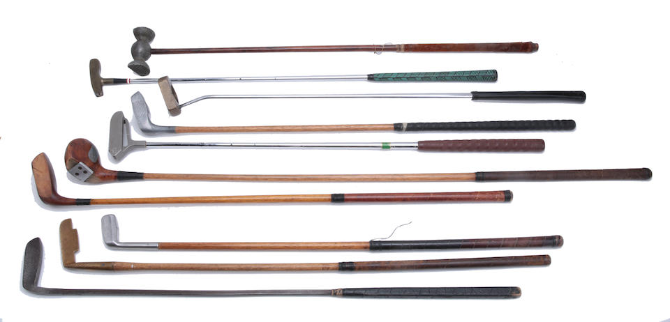 A SELECTION OF PATENTED and unusual golf clubs