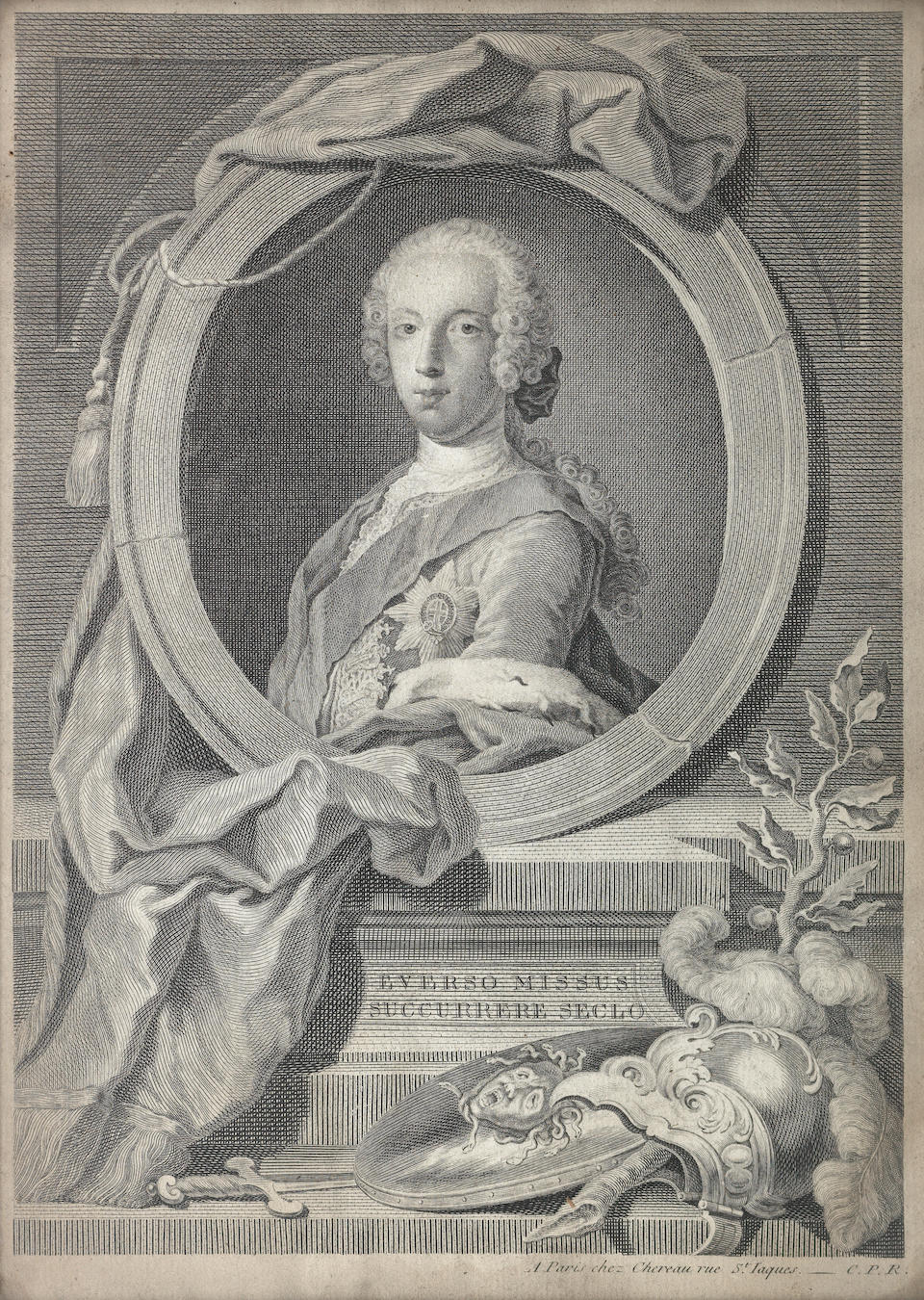 An engraving of Charles Edward Stuart By J. G. Will after L. Tocque And another engraving of Charles Edward Stuart. (2)