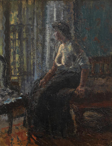 Walter Richard Sickert A.R.A. (British, 1860-1942) Woman Seated at a Window (Mornington Crescent) 52 x 40 cm. (20 1/2 x 15 3/4 in.) (Painted circa 1908-9)
