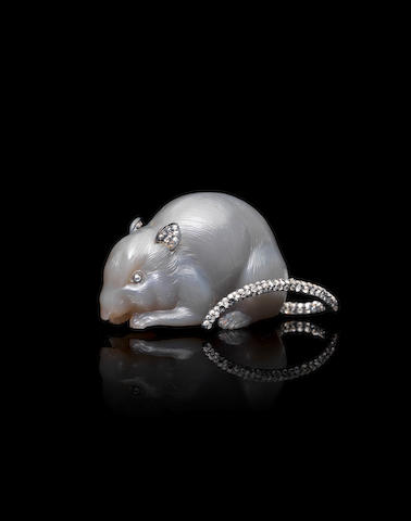 A grey agate figure of a mouse set with silver-mounted diamondsFabergé, circa 1900, scratched inventory number 4192