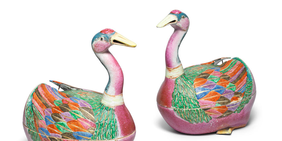 A very fine and rare pair of famille rose 'goose' tureens and covers Qianlong, circa 1780 (4)