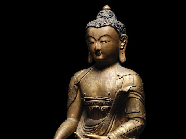 A magnificent and large gilt-bronze figure of Buddha Shakyamuni 17th/18th century