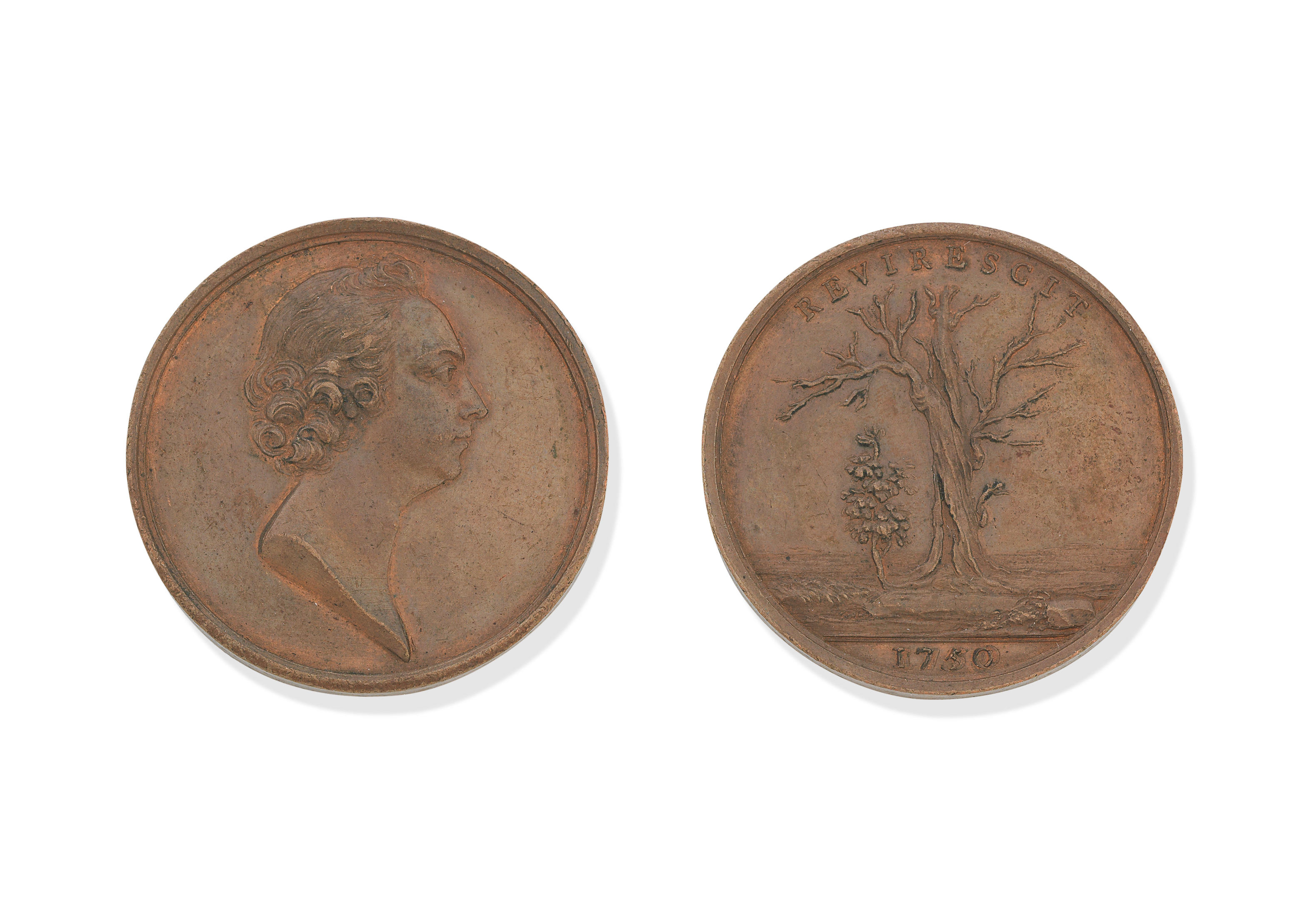 Of Jacobite interest: A Copper Charles Edward Stuart Oak Society Medallion...