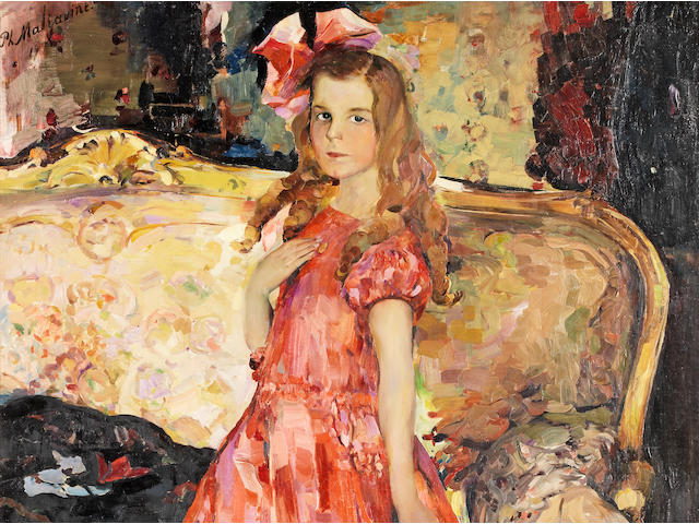 Philip Maliavin (1869-1940), Portrait of a young girl in a red dress