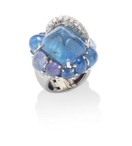 A sapphire and diamond ring, by Seaman Schepps,