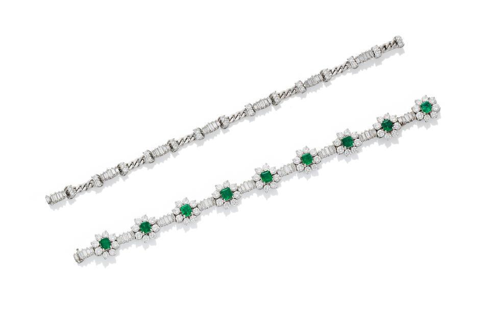 An emerald and diamond collar/bracelet combination (2)