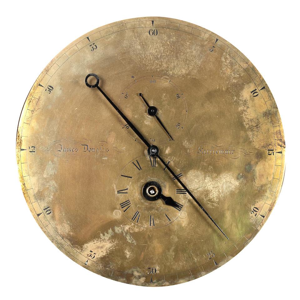 A 19th century mahogany cased floor standing regulator clockInscribed 'James Douglas, Kirriemuir'