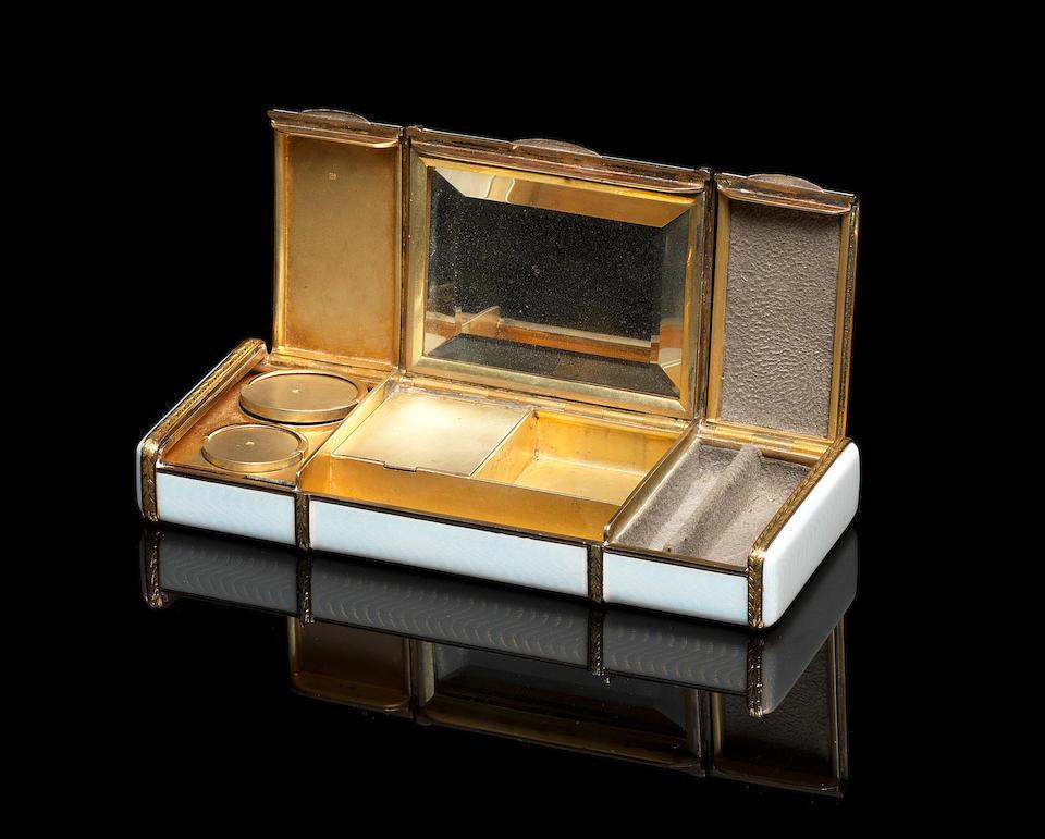 A silver-gilt jewelled enamel vanity case Andre Adler, St. Petersburg, 1908-1917