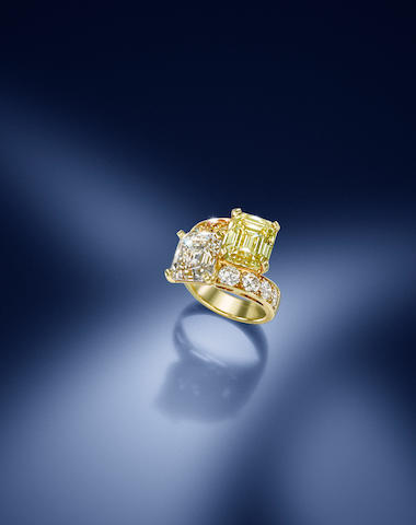 A fancy-coloured diamond and diamond 'Toi et moi' ring, by Cartier