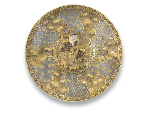 A finely inlaid iron large circular lobed charger  By Komai Otojiro of Kyoto, Meiji era (1868-1912), late 19th century, probably circa 1875-1880