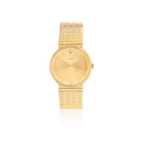 Rolex. An 18K gold manual wind bracelet watch  London Hallmark for 1968