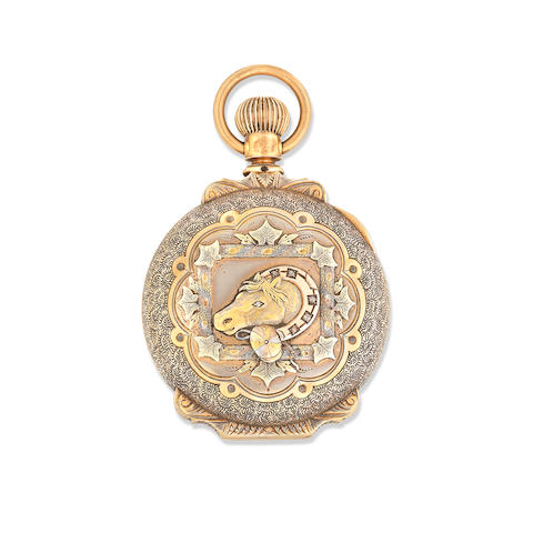 New Columbus Time King. A 14K gold keyless wind full hunter pocket watch Circa 1890