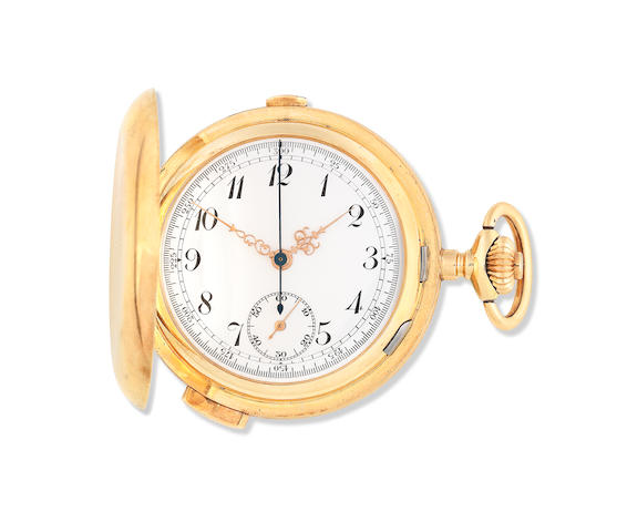 A 14K gold keyless wind full hunter minute repeating chronograph pocket watch Circa 1890