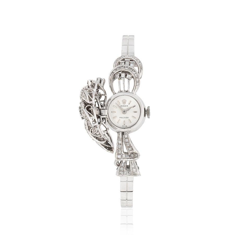 Bonhams : Rolex. A lady's 18K white gold and diamond set
