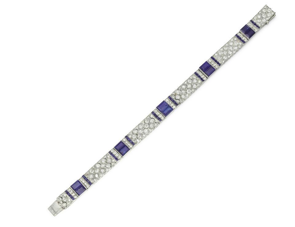 An art deco sapphire and diamond bracelet, by Cartier,