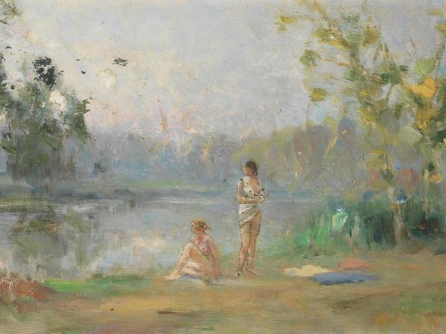 Ivan Pavlovich Pokhitonov (Ukrainian, 1850-1923) 'Etude d'après Corot. Baigneuses au bord de la Marne (Paris, 1900)'