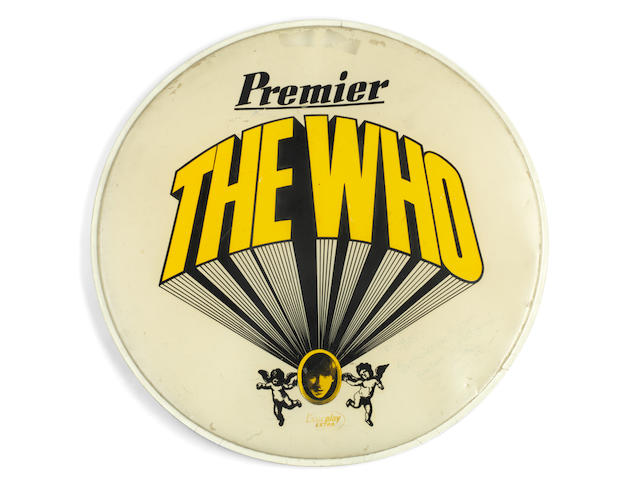 The Who: Keith Moon's 22-inch Premier Ever Play drumhead, featuring 'The Who' logo from his famous Pictures of Lily drumkit, 1967,