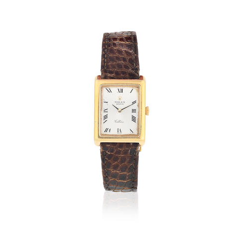 Rolex. A lady's 18K gold manual wind rectangular wristwatch  Cellini, Ref: 4103, Sold 22nd November 1983