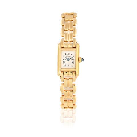 Cartier. A lady's 18K gold quartz bracelet watch Tank, Ref: 1011, Sold 18th November 1989