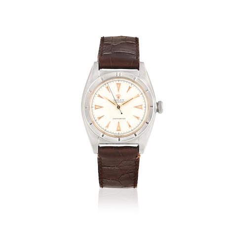 Rolex. A mid-size stainless steel automatic bubble back wristwatch  Oyster Perpetual, Ref: 5015, Circa 1950