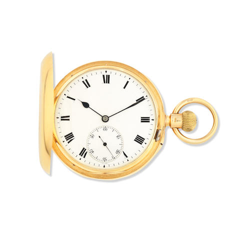 An 18K gold keyless wind full hunter karousel pocket watch London Hallmark for 1905