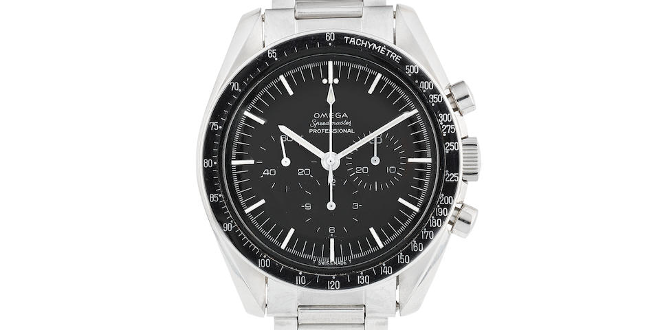 Omega. A stainless steel manual wind chronograph bracelet watch  Speedmaster Professional, Ref: 105.012-65, Circa 1965