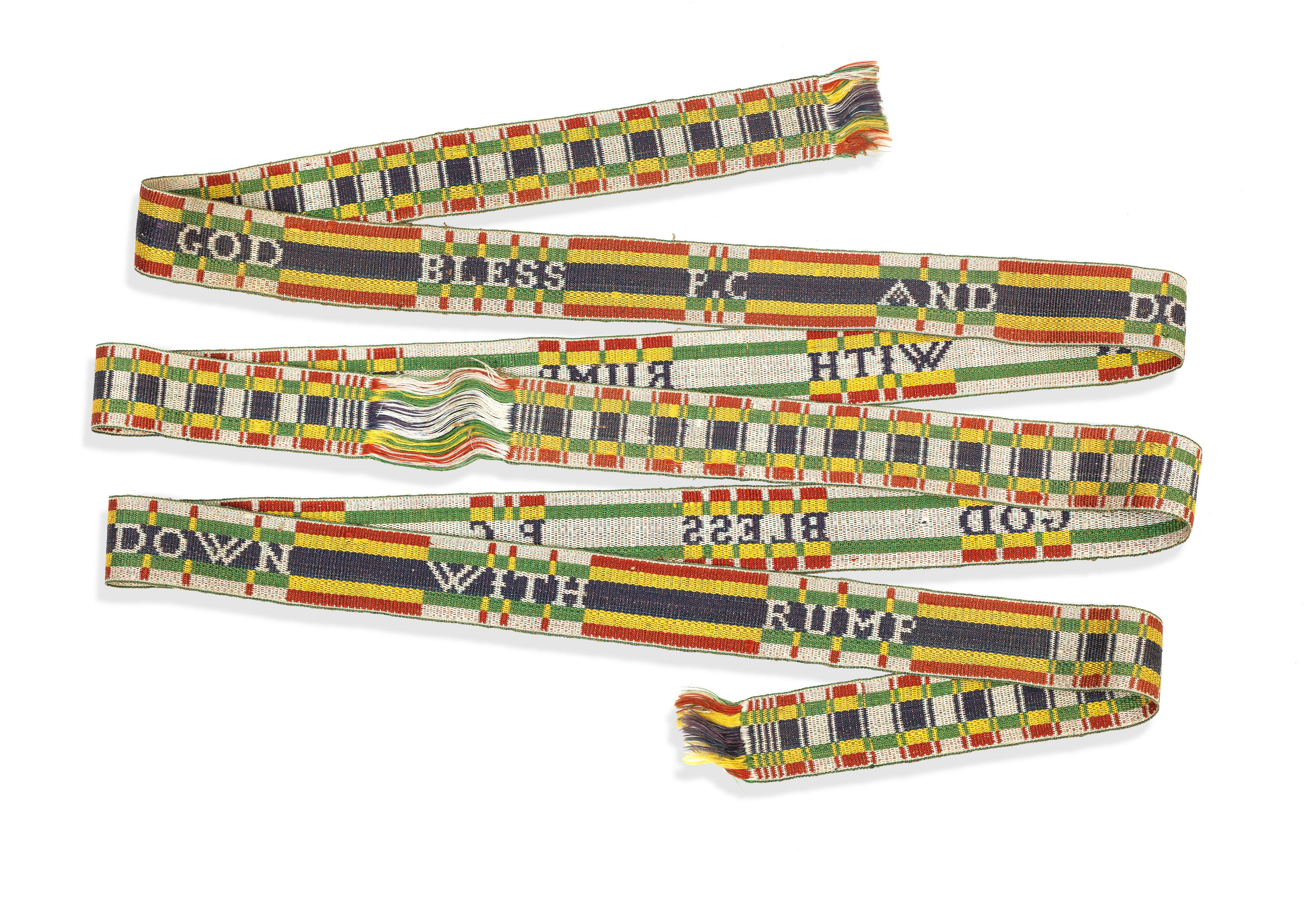 A pair of Jacobite silk garters,