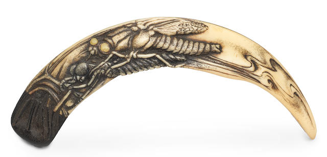 A boar-tusk netsuke By Jack Coutu (1924-2017), English, carved February-March 2008 (no.329) (2)