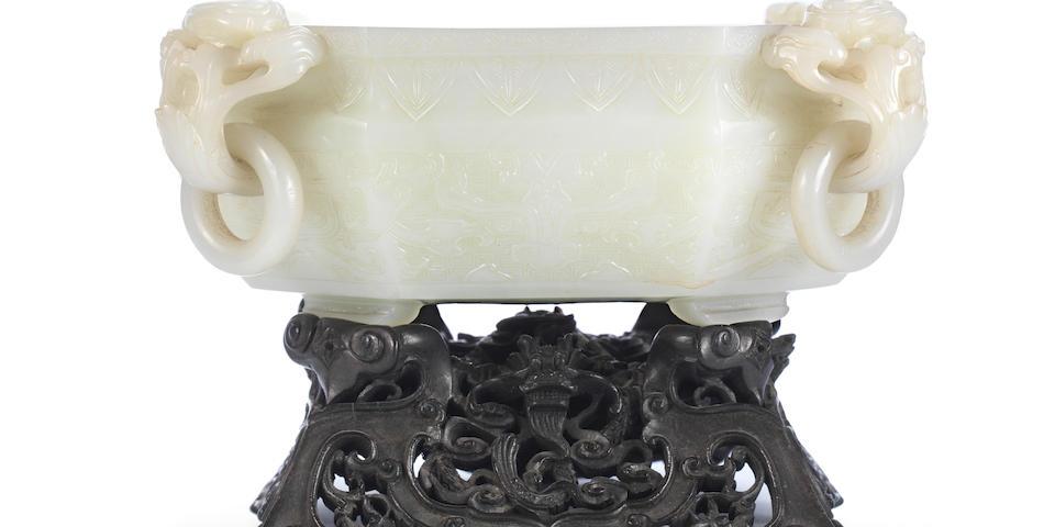 A superb greenish-white jade octagonal 'marriage' bowl Qianlong (2)