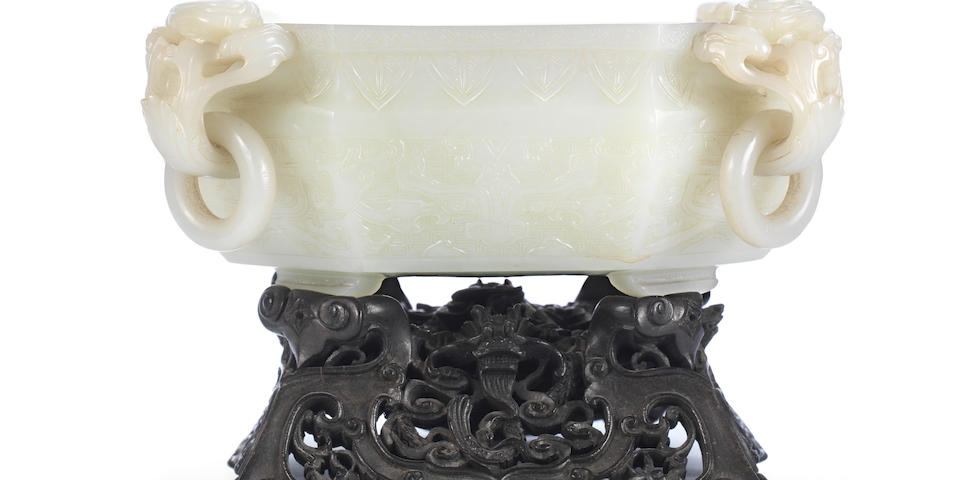 A superb greenish-white jade octagonal 'marriage' bowl Qianlong (2)