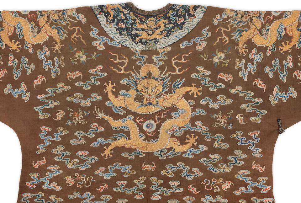 A very rare Imperial chestnut-ground gauze silk summer 'dragon' robe, jifu Qianlong
