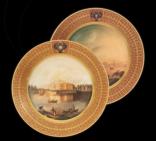 A pair of porcelain topographical platesImperial Porcelain Factory, St. Petersburg, period of Nicholas II, one dated 1913